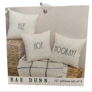 "RAE DUNN HIP HOP HOORAY! 12"" Pillows Set of 3"